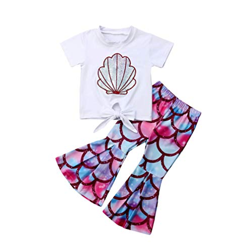 Toddler Baby Girls Mermaid Outfits Cotton Short Sleeve T Shirt Top+Fish