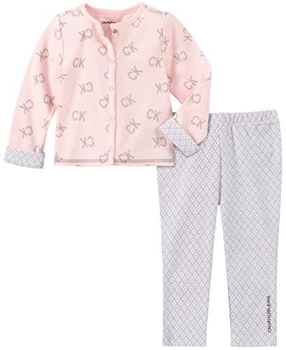 Calvin Klein Baby Girls 2 Pieces Cardigan Pants Set, Frozen Petal