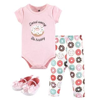 Hudson Baby Unisex Baby Cotton Bodysuit, Pant and Shoe Set, Donut Worry