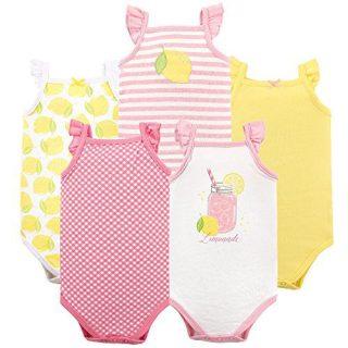 Hudson Baby Unisex Baby Cotton Sleeveless Bodysuits, Lemonade