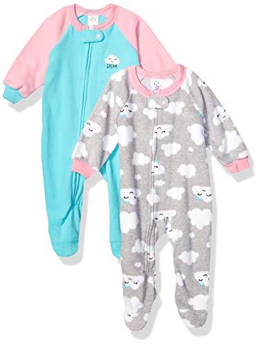 GERBER Baby Girls 2-Pack Blanket Sleeper, Blue/Pink Clouds