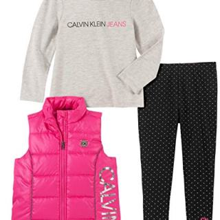 Calvin Klein Baby Girls 3 Pieces Puffy Vest Set, Pink/Gray