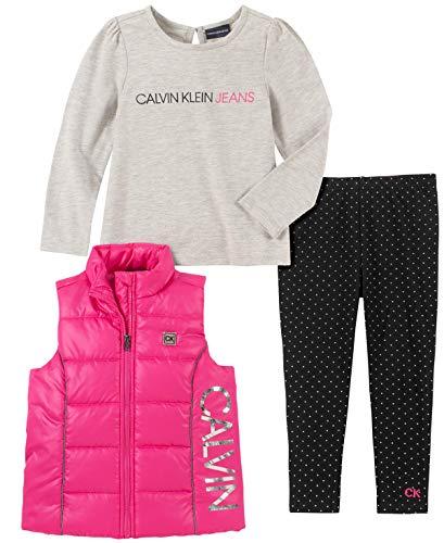 Calvin Klein Baby Girls 3 Pieces Puffy Vest Set, Pink/Gray