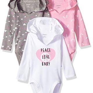 Hanes Ultimate Baby Flexy 3 Pack Hoodie Bodysuits, Pink/Grey Shades
