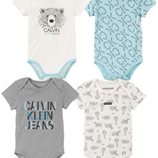 Calvin Klein Baby Boys 4 Pieces Pack Bodysuits, Blue/Gray/Vanilla