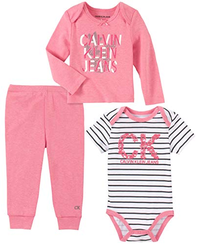 Calvin Klein Baby Girls 3 Pieces Pants Set, Rose