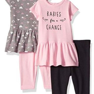 Hanes Ultimate Baby Flexy Set-2 Short Sleeve Dresses with 2 Leggings