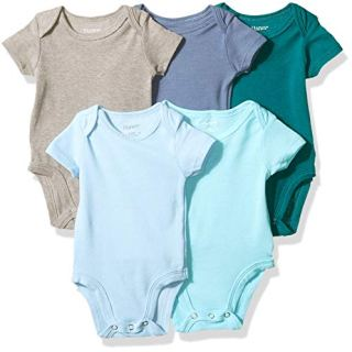 Hanes Ultimate Baby Flexy 5 Pack Short Sleeve Bodysuits, Blues