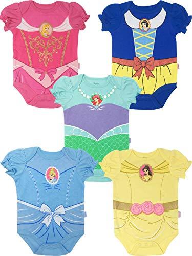 Disney Princess Baby Girls' 5 Pack Bodysuits Belle Cinderella Snow White Aurora