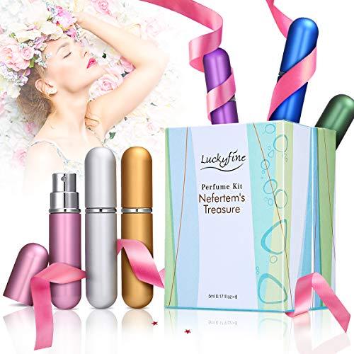 LuckyFine 6 PCS Mini Perfume Gift Set for Women, 6 Scent Kit for Girls