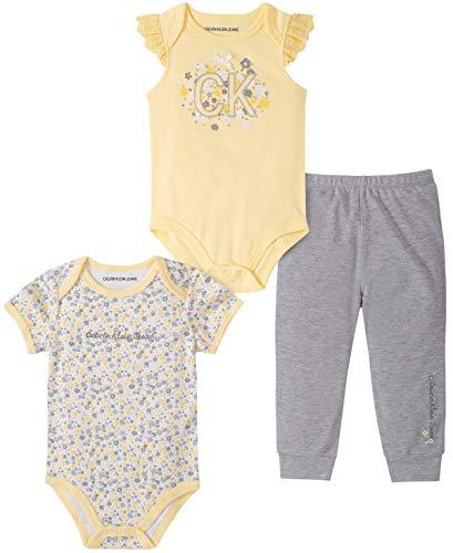 Calvin Klein Baby Girls' 3 Pieces Bodysuit Pants Set, Yellow/Gray
