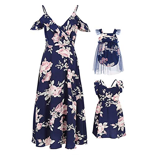 PopReal Mommy and Me Dresses Floral Printed Sleeveless Infant Baby Girl Tulle