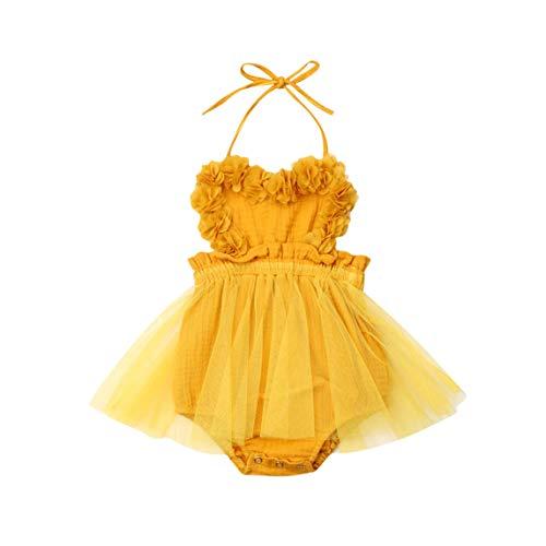 rechange Newborn Infant Baby Girl Sunflower Print V Neck Sleeveless Backless