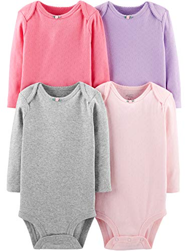 Simple Joys by Carter's Girls' 4-Pack Soft Thermal Long Sleeve Bodysuits