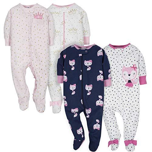 GERBER Baby Girls' 4-Pack Sleep N' Play, Fox/Princess