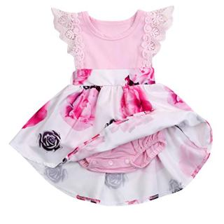 HAPPYMA Infant Toddler Baby Girl Dress Floral Lace Dresses Ruffle Flying