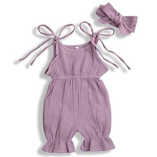 GSHOOTS Newborn Baby Girls' Sleeveless Romper Ruffle Jumpsuit Strap Onesies