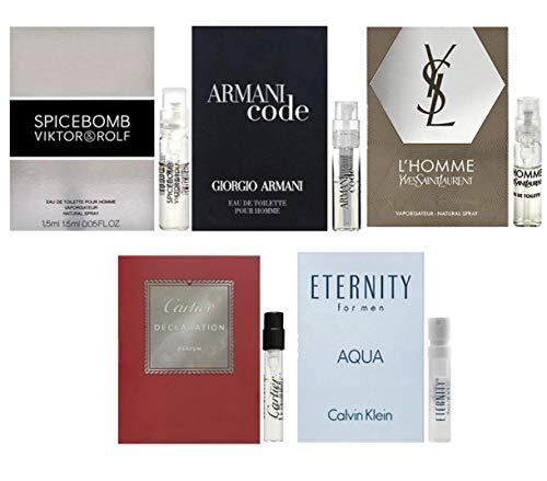 Men's cologne sampler set - Designer perfume sample Lot x 5 Cologne Vials