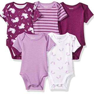 Hanes Ultimate Baby Flexy 5 Pack Short Sleeve Bodysuits, Purple Fun