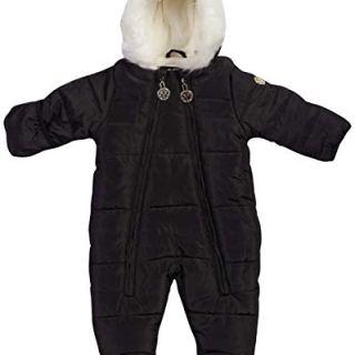 DKNY Baby Girls Cozy Puffer Fully Sherpa Fur Lined Snowsuit Pram