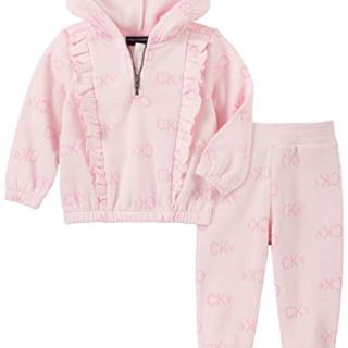 Calvin Klein Baby Girls 2 Pieces Jog Set, Pink Print