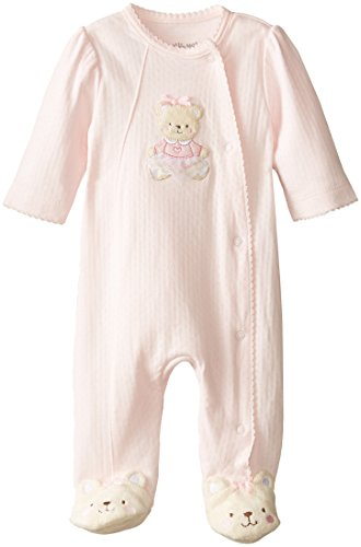 Little Me Baby-Girls Newborn Sweet Bear Footie, Light Pink
