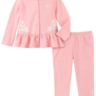 Calvin Klein Baby Girls 2 Pieces Cardigan Pants Set, Blush Freeze