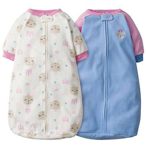 GERBER Baby Girls 2-Pack Sleep Bag, Blue Princess Bear