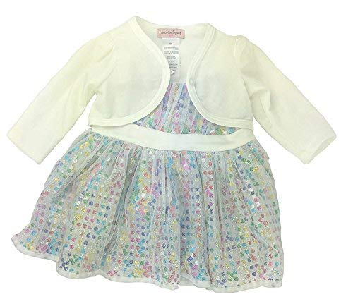 Nanette Lepore Girls Special Occasion Dress (6 Month, Multi Color Polka Dot/White)