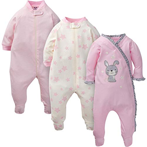 GERBER Baby Girls' 3-Pack Organic Sleep 'N Play, Twinkle Bunny