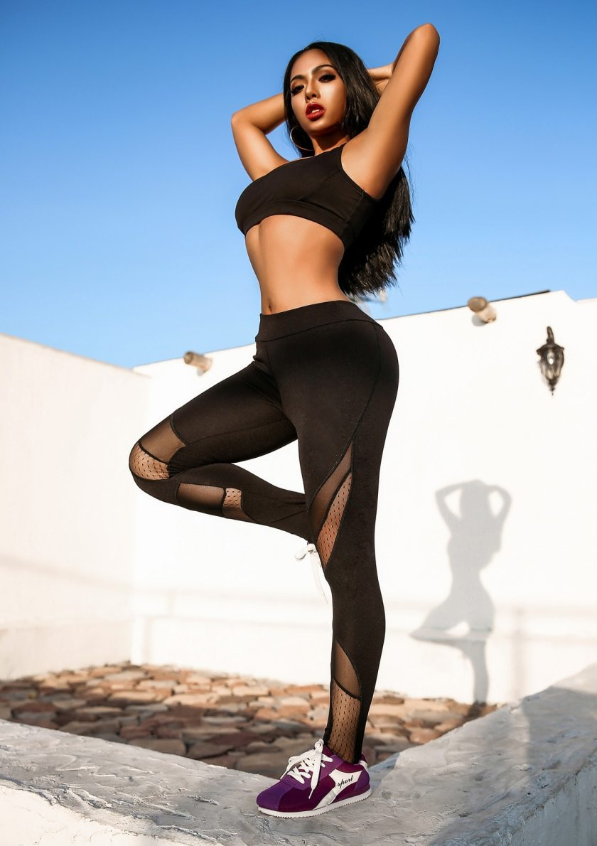 High Waist Workout Black Yoga Legging Mesh Splicing See Through