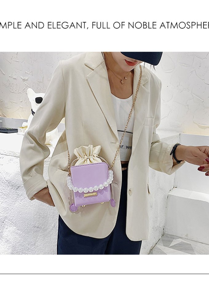 Pearl Chain Top-Handle Bucket Bag Leather Candy Color