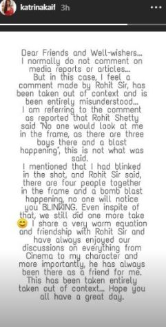 Katrina Kaif clarifying about the on-going feud with Rohit Shetty.