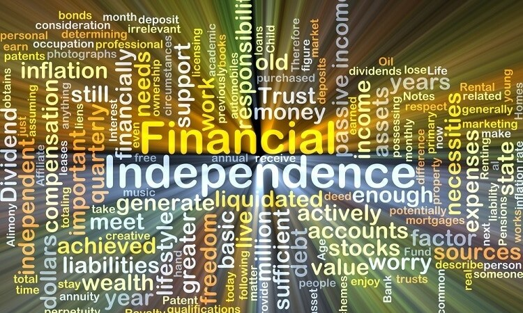 Financial independence word cloud new