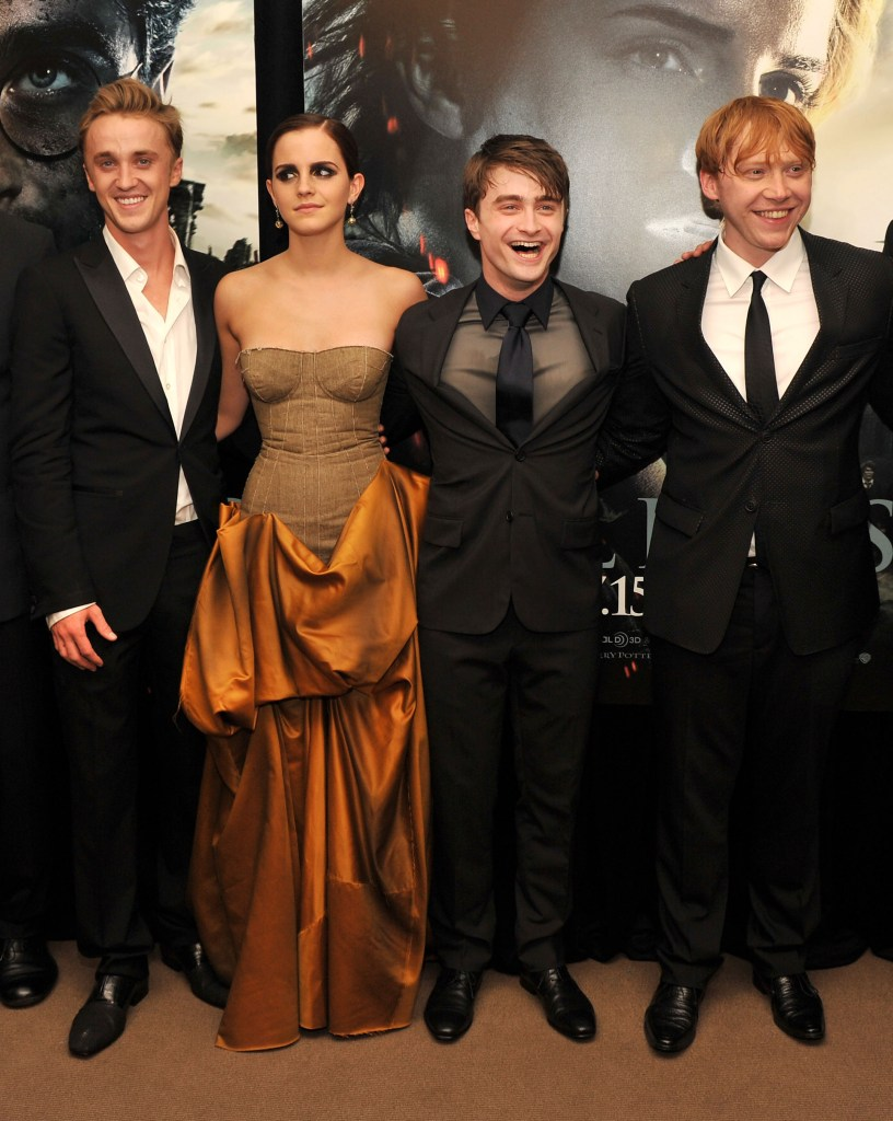 "NEW YORK, NY - JULY 11:  (L-R) Tom Felton, Emma Watson, Daniel Radcliffe and Rupert Grint attend the New York premiere of ""Harry Potter And The Deathly Hallows: Part 2"" at Avery Fisher Hall, Lincoln Center on July 11, 2011 in New York City.  (Photo by Stephen Lovekin/Getty Images)"