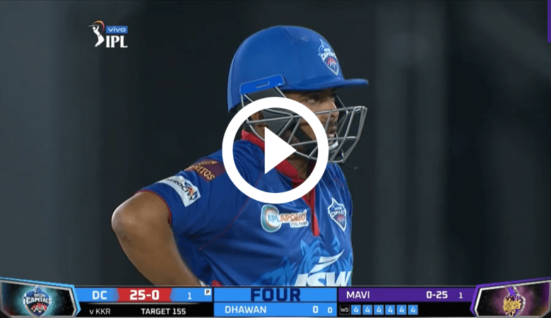 Video of Shaw's 24 runs in 1 over : 6 Balls 6 Fours : IPL 2021