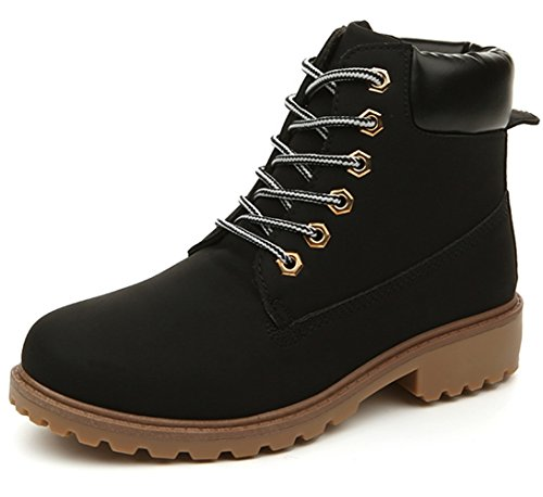 DADAWEN Women's Lace Up Low Heel Work Combat Boots