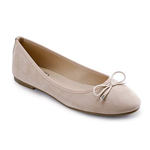 Trary Women's Classic Round Toe Slip on Ballet Flat Shoes Nude