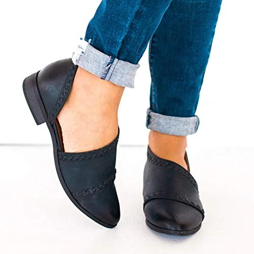 FISACE Womens Casual Slip-On Loafer Pointed Toe Cut Out Slip on FISACE Womens Casual Slip-On Loafer Pointed Toe Cut Out Slip on Office Casual Dressy Ankle Boot.