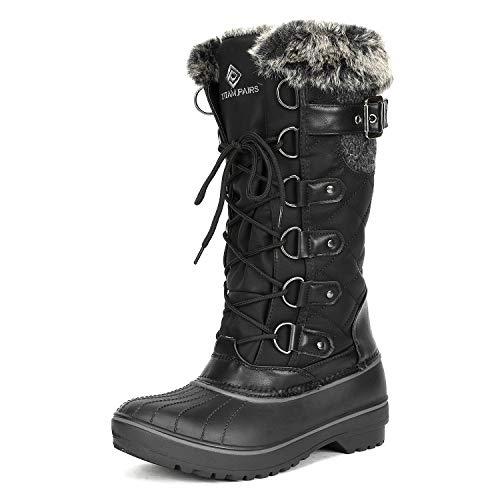 DREAM PAIRS Women's DP-Avalanche Black Faux Fur Lined Mid Calf Winter