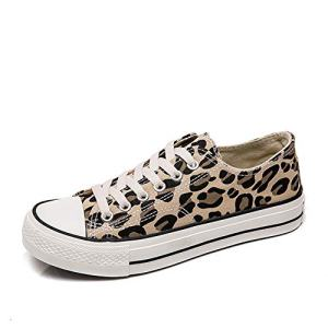 chegong Women's Canvas Lace Up Sneakers Leopard Casual Skateboarding Shoes
