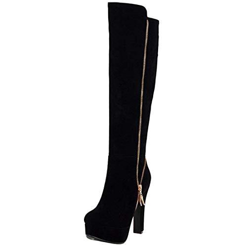 Vitalo Women High Chunky Heel Knee High Platform Zip Up Autumn Winter Boots