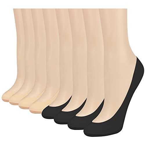 8 Pairs No Show Socks Women Low Cut Socks for Flats Non Slip Thin Liner Socks