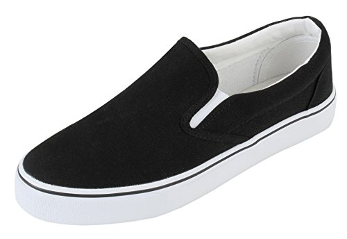 UJoowalk Womens Black Comfortable Casual Canvas Slip On Fashion Sneakers