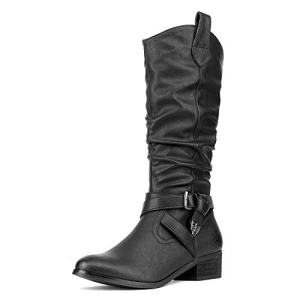 DREAM PAIRS Women's Mexica Black Mid Calf Western Bootie