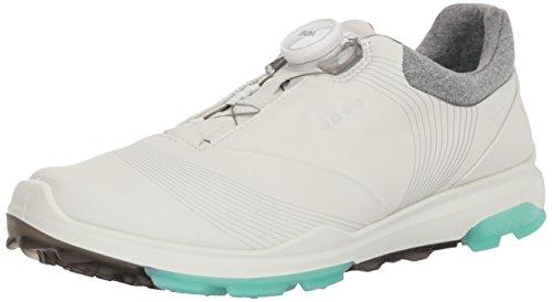 ECCO Women's Biom Hybrid 3 BOA Gore-Tex Golf Shoe, White/Emerald Yak Leather, 11 M US