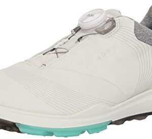 ECCO Women's Biom Hybrid 3 BOA Gore-Tex Golf Shoe, White/Emerald Yak Leather, 11 M US
