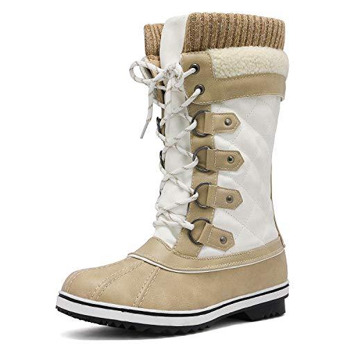 DREAM PAIRS Women's Monte_02 Beige White Mid Calf Winter Snow Boots