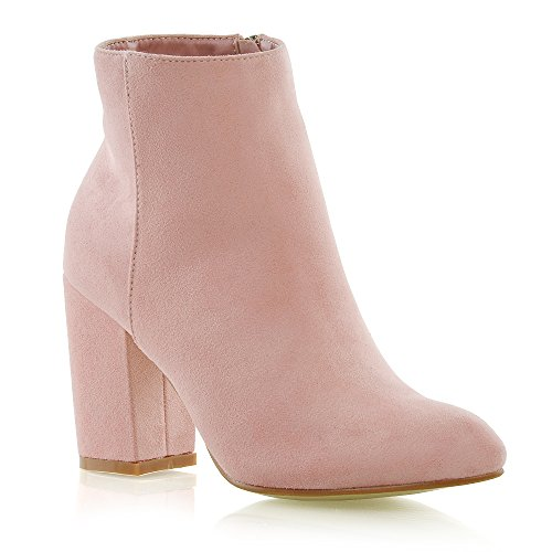 ESSEX GLAM Womens Casual Block Mid High Heel Smart Ankle Boots