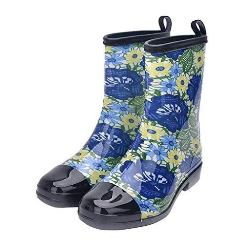 Jiu du Women's Block Heel Waterproof Rain Boots and Garden Round